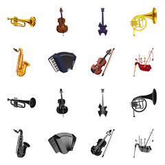 Isolated object of music and tune sign. Set of music and tool stock symbol for web.