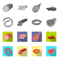 Vector illustration of meat and ham logo. Set of meat and cooking vector icon for stock.