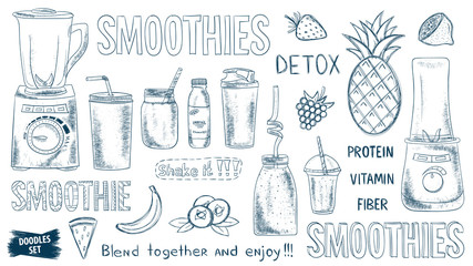 Smoothie doodles set. Healthy lifestyle. Organic. Glasses and mugs. Blender. Fruits or vegetables smoothie. Vitamins and protein drink. Diet. Detox. Shake. Sketches collection.