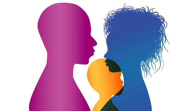 Adoption. Young African or African-American parents adopt an African or African American child. Vector color profile silhouette