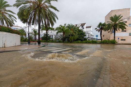 Flooding and torrential rain in Estepona, Malaga, Spain on 21.10.2018