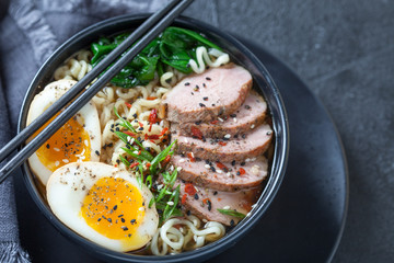 Japanese ramen noodle soup with duck breast