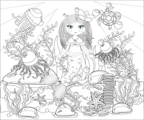 Beautiful mermaid. Underwater world. Anti stress coloring book for adult. Outline drawing coloring page. Black and white in zentangle style. Sea, shells. Marine theme.