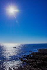 bright sun over Lizard Point, the southernmost place in South Cornwall