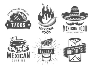 Mexican cuisine logos. Vector badges with traditional mexican food. Emblems for tacos, burritos, nachos, tequila. Set of vintage labels for cafe or fast food restaurant
