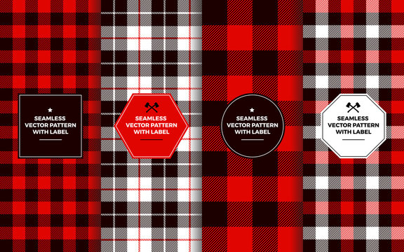 Lumberjack Seamless Patterns with Label Frames. Red Black White Buffalo Check & Tartan Plaid. Trendy Hipster Textures & Badges. Copy Space for Text. Design Templates for Packaging, Covers, Gift Wrap