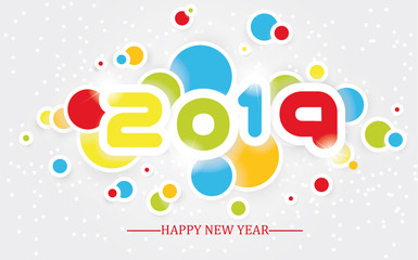 2019 happy new year  simple writing multicolour  with shading