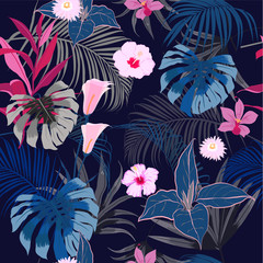 vector seamless beautiful artistic darkt tropical pattern with exotic forest.