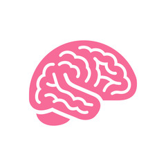 Brain pink color side view icon, intellect symbol