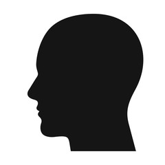 Human head profile black shadow silhouette