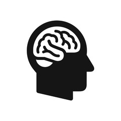 Human head profile with brain symbol, simple black icon
