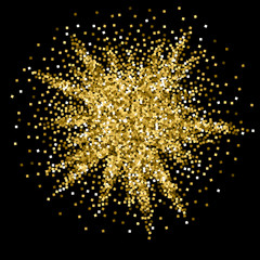 Gold glitter luxury sparkling confetti. Scattered