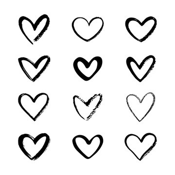 Set, collection of various brush, chalk, marker drawn line heart shapes, silhouettes, outlines. Valentines day many templates. Uneven, rough, textured edge. Hand drawn, handwritten design elements.