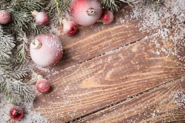 Christmas background on boards