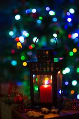 Lantern and christmas tree