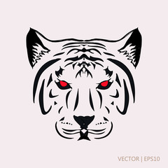 Tiger with red eyes. Vector illustration