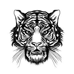 Злой тигр  с татуировками