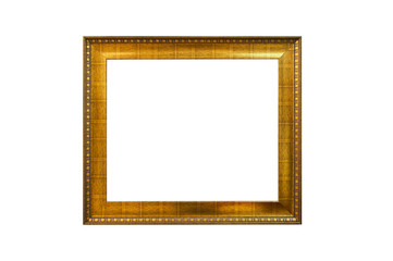 Wooden golden picture frame, isolated on white.