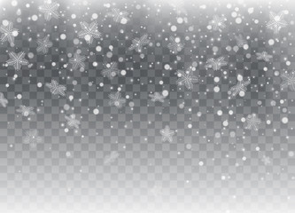 Falling snow, snowflakes. Christmas and New Year background. Vector illustration
