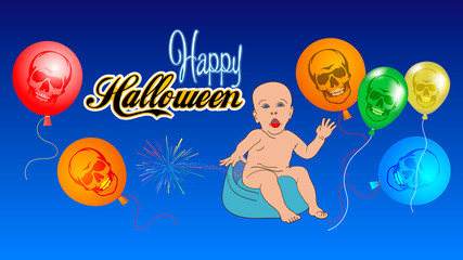 Happy halloween banner. Vector illustration of a child who celebrates Halloween.