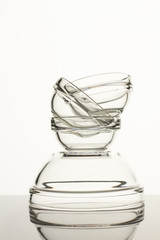 Glass utensil set. White isolated background.