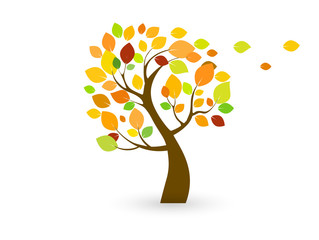 Icon (symbol) of an autumn tree with yellow (multi-colored) leaves.