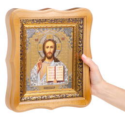 Icons faith bible in hand on white background isolation