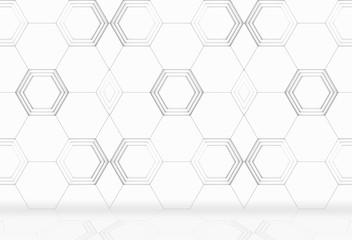 3d rendering. modern white hexagonal shape tile pattern wall and floor background.