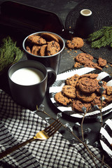 sweet cookies dessert biscuit with milk and decoration food on table