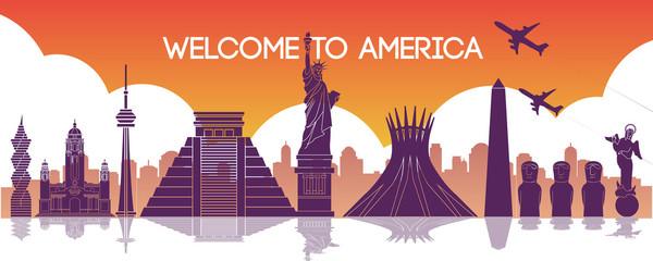 famous landmark of america,travel destination,silhouette design,purple and orange gradient color