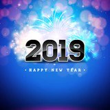 2019 happy new year illustration with 3d number on shiny blue background holiday design for