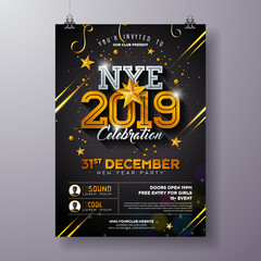 2019 New Year Party Celebration Poster Template Illustration with Shiny Gold Number on Black Background. Vector Holiday Premium Invitation Flyer or Promo Banner.