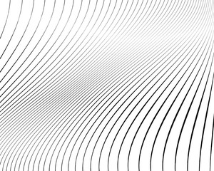 Abstract pattern. Texture with wavy, curves lines. Optical art background.