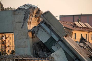 Wall Murals Bridge morandi collapsed bridge in genoa