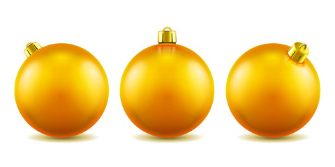 Set of isolated 3d toys for 2019 new year or realistic golden baubles for ornamenting christmas tree. Volumetric Xmas spheres for holiday decoration. Winter festive and celebration theme