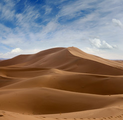 Big sand dunes in Sahara desert