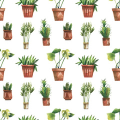 Watercolor seamless pattern with green plants.