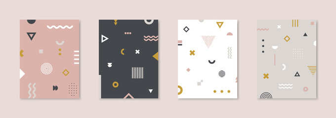 Set of 4 Placard with geometric bauhaus shapes. Vector template for Covers, Voucher, Posters, Flyers and Banners.