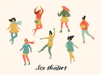 Vector illustration of women skate. Trendy retro style.