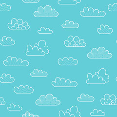 Vector Illustration. Seamless pattern with cartoon cloud on blue background. Cloud with dicoration elements for background, poster, card