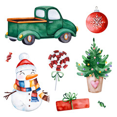 Bright collection with Christmas tree,candy,truck,gifts,snowman and more.Watercolor holiday illustration.Perfect for your Christmas and New Year project,invitations,greeting cards,wallpapers