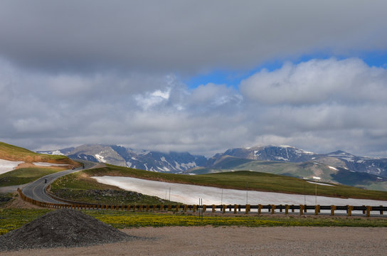 Beartooth Highway Pass in Montana on a sunny summer day