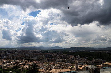 Landscape of the city of Gerona in cloudy weather