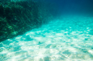 Underwater landscape, sandy bottom and rocks