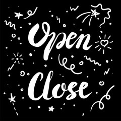 Vector Illustration of Chalk Hanging Signs isolated on Black background with stars and points. Words lettering open and close Hand Drawn Retail Illustrations. Information on the door to the cafe