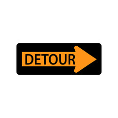 USA traffic road signs. detour to the right. vector illustration