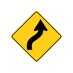 USA traffic road sign. just ahead ,the road curves right,then left. vector illustration