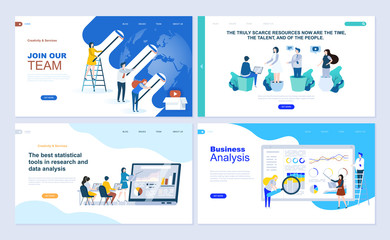 Set of landing page template for business app, data analysis, career, teamwork. Modern vector illustration flat concepts decorated people character for website and mobile website development.