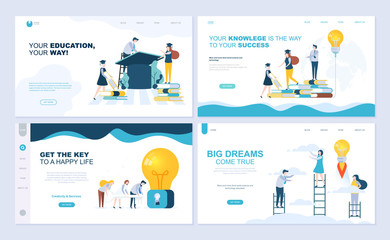 Set of landing page template for staff education, consulting, college, education app. Modern vector illustration flat concepts decorated people character for website and mobile website development.
