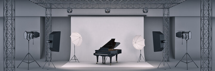 photo studio with piano. 3d rendering